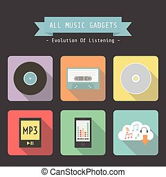 music gadget - set of evolution of music gadget icon, analog...