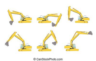 Set of Excavator work. Isolated