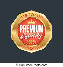 Set of excellent quality red badges with gold border