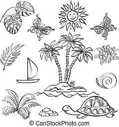 Set of exotic objects - Set of the objects represent summer...