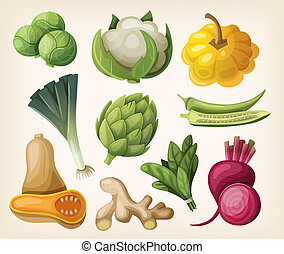 Set of exotic vegetables. Vector