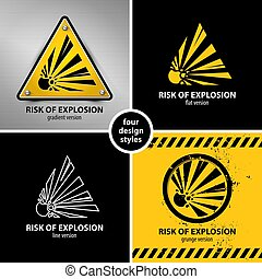 set of explosion hazard symbols containing four unique...