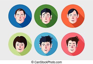 set of expression avatar flat icons