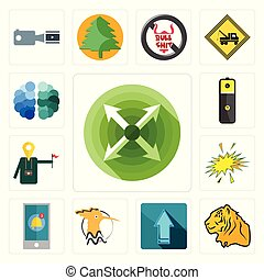 Set of extend, tiger, upgrade, hoopoe, notification, starburst, tour guide, lithium battery, free brain icons