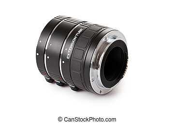 set of extension tubes on white background