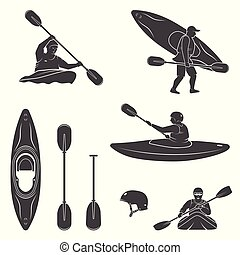 Set of extrema water sports equipment, kayaker and canoe silhouettes