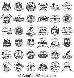Summer camp, mountain biking, fishing and alpine club. Vector illustration. Set of vintage badges, labels, silhouettes. Vintage typography collection with 36 items. Outdoors adventure emblems.