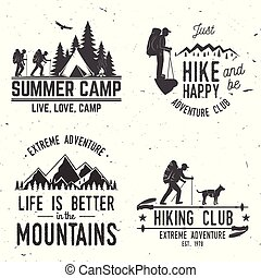 Set of extreme adventure badges. Mountains related typographic quote.