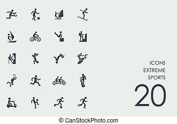 Set of extreme sports icons