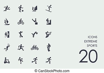 Set of extreme sports icons