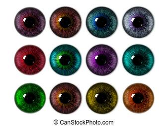 Set of eye iris generated textures. Rainbow eye on a white...