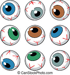 Set of eyeballs on white background
