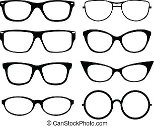 Set of eyeglasses isolated over white background
