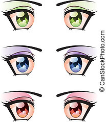 Set of Eyes - Set of manga, anime style eyes of different...