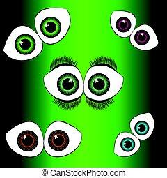 Set of eyes on green background
