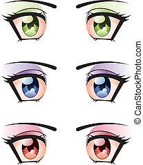Set of Eyes - Set of manga, anime style eyes of different ...