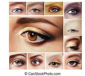 Set of Eyeshadow. Mascara. Mix of Women's Eyes