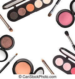 Set of eyeshadows and makeup brushes, isolated on white