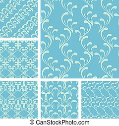 Set of fabric textures in light blue colors - seamless patterns.