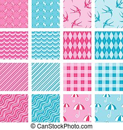 Set of fabric textures in pink and blue colors - seamless patter