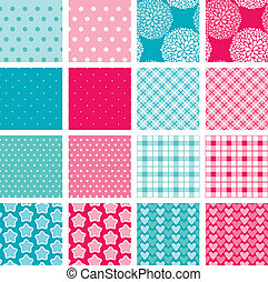 Set of fabric textures in pink and blue colors - seamless patterns for girls and boys