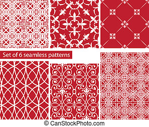 set of fabric textures with different lattices - seamless patterns.
