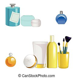 Set of face care products isolated on white background. Vector illustration.