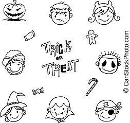 set of face halloween doodle