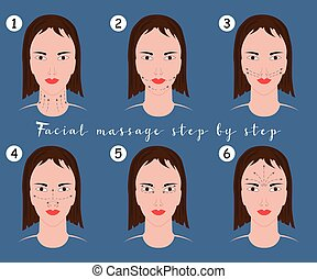Set of face massage instructions isolated on blue background. Vector illustration of massage lines on woman face.