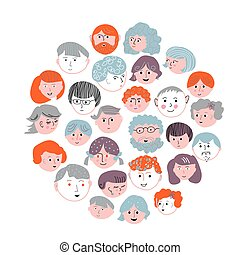 Set of faces cartoons card - round design