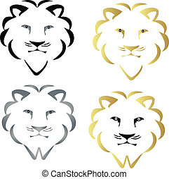 Set of faces lions