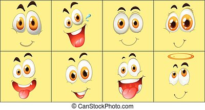 Set of facial expression illustration