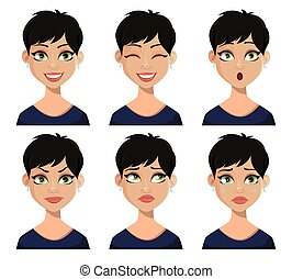 Set of facial expressions of beautiful woman