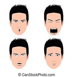 Set of facial expressions