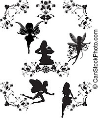 Set of fairies and floral corners silhouettes