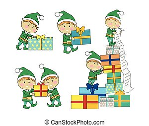 Set of Fairy Elves with Christmas Presents