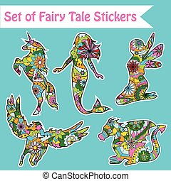 Set of fairy tale stickers