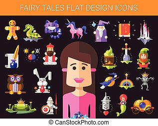 Set of fairy tales flat design magic icons and elements