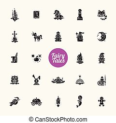 Set of fairy tales flat design magic icons and pictograms