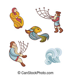 set of fairytale characters - vector illustration set of ...