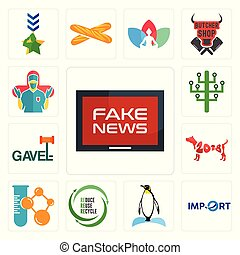 Set of fake news, import, penguin, uce reuse recycle, chemical company, year the dog, gavel, digital tree, surgeon icons