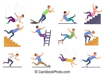 Set of falling man isolated. Falling from chair accident,...