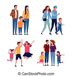 Set of familly avatar collection vector illustration graphic...