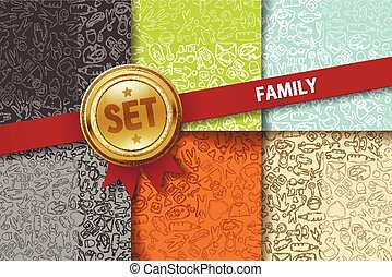 Set of family backgrounds with doodle icons in different colors