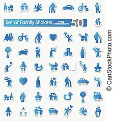 Set of family stickers