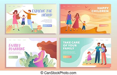 Set of family web page templates