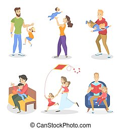 Set of family with various situations ilustration