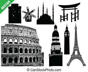 Set of famous buildings