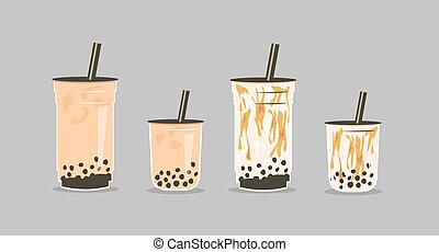 Set of famous Taiwanese beverage. Take away glass of brown ...
