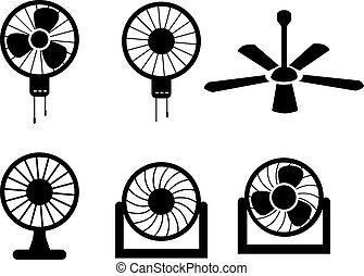 Set of fan icons in silhouette style, vector